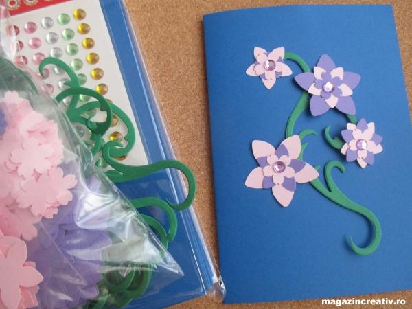 Set confecționare 20 felicitări albastre cu flori