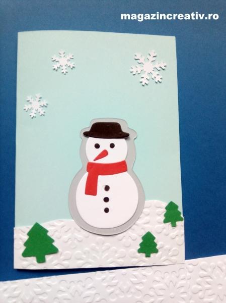 Felicitare bleu Omul de zăpadă - set confecţionare 20 felicitări 0